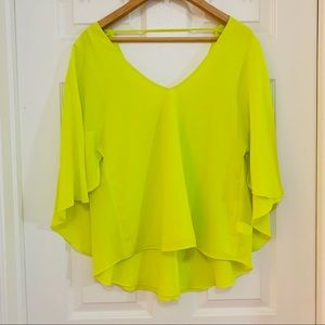 Bisou Bisou Layered Neon Yellow Top EUC
